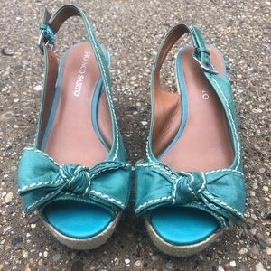 Franco Sarto Teal Espadrille Olympia Leather Upper